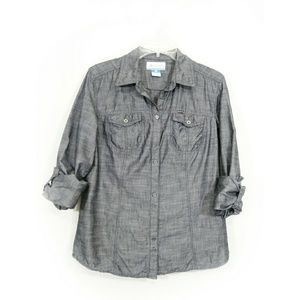 Columbia button down gray shirt size large